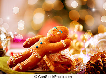 gingerbread, man., クリスマスの 休日, 食品。, クリスマス, テーブルの 設定