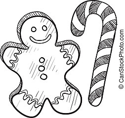 Gingerbread man and candy cane - Doodle style Christmas ...