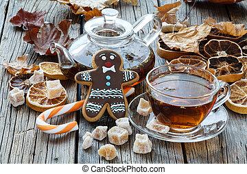 Gingerbread man and christmas tea