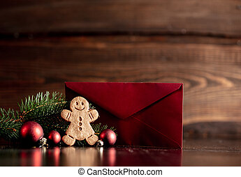 Gingerbread man and Christmas tree with red envelope