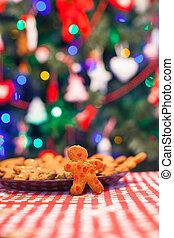 Gingerbread man background Christmas tree lights