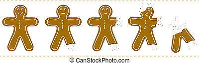 Gingerbread Man Being Eaten - Various stages of a Christmas...