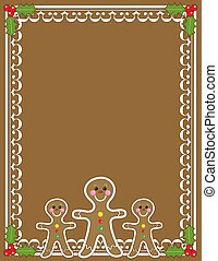 Gingerbread Man Border - A border or frame featuring three...