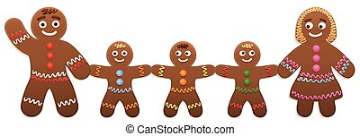Gingerbread Man Children Mother Father Family
