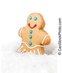 Gingerbread Man Christmas Cookie in a snow on white background,