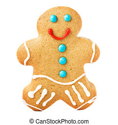 Gingerbread Man Christmas Cookie isolated on white background, c