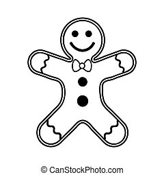 Gingerbread man Christmas cookie outline. New year biscuit ginger man. Cartoon illustration Isolated on white background