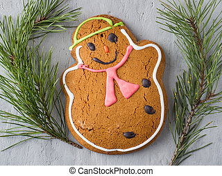 Gingerbread Man Christmas Holiday Background with Decorations Copy space
