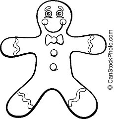 gingerbread man coloring page - Black and White Cartoon...