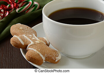Gingerbread man cookie and coffee
