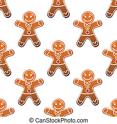 Gingerbread man cookie seamless pattern for christmas design