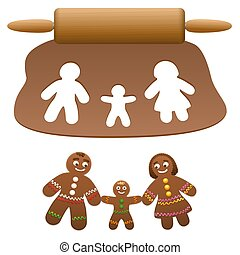 Gingerbread Man Family Father Mother Child Cut Out Cookies