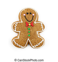 Gingerbread Man - Gingerbread man cookie isolated on white.