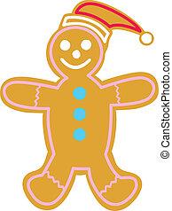 Happy gingerbread man with Santa Hat.
