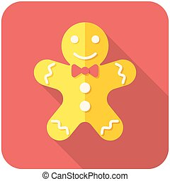 Gingerbread man icon flat design with long shadows