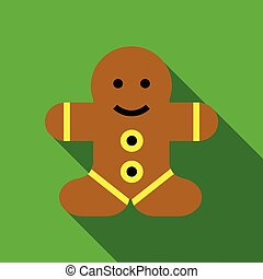 Gingerbread man icon, flat style