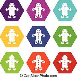 Gingerbread man icon set color hexahedron