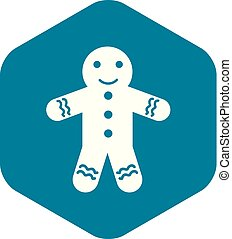 Gingerbread man icon, simple style