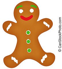 Gingerbread Man Illustration with Clipping Path Isolated on White