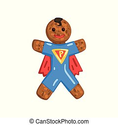 Gingerbread man in costume of superman, Christmas character with funny face vector Illustration on a white background