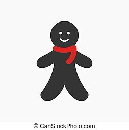Gingerbread man in red scarf, cute Christmas icon.