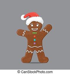 Gingerbread man in xmas hat