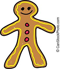 gingerbread man isolated on white drawn in toddler art style
