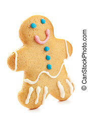 Gingerbread man isolated over white background