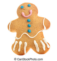 Gingerbread man isolated over white background. Holiday Christmas cookie