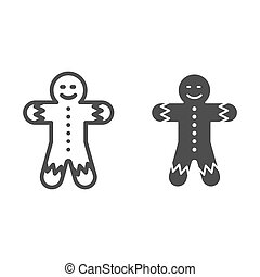 Gingerbread man line and glyph icon. Christmas cookie vector illustration isolated on white. Sweet outline style design, designed for web and app. Eps 10.