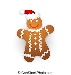 Gingerbread man on a white background.