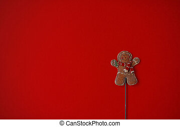 gingerbread man on red background