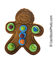 Gingerbread man on white background with space for text