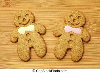 gingerbread man over wooden background