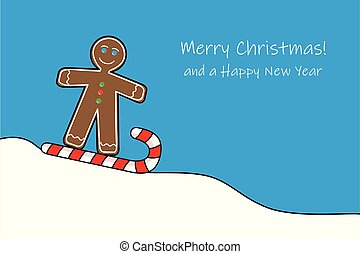 gingerbread man rides sledges on a candy cane