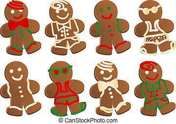 Set of eight gingerbread men cookies in four styles, each style decorated in color and plain frosting. Four styles are Swim Dude, Bowtie Dude, Suit Dude and Classic.