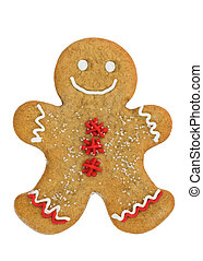 Gingerbread man - Smiling gingerbread man isolated against a...
