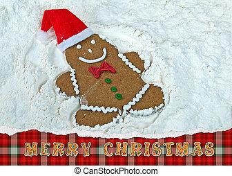 gingerbread man snow angel