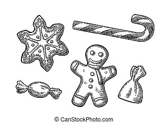 Gingerbread man, star, candy cane.