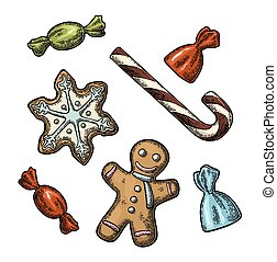 Gingerbread man, star, candy cane. Vector vintage color engraving illustration.