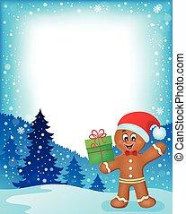 Gingerbread man theme frame 1