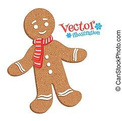 Vector illustration of gingerbread man.