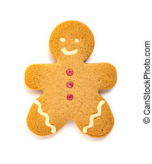 gingerbread man with a smiling face on a white background