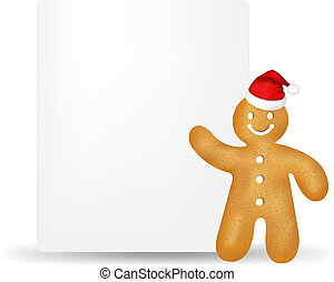 Gingerbread Man With Blank Gift Tag With Gradient Mesh, ...