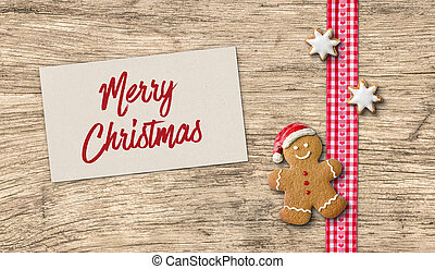 Gingerbread man with Christmas card