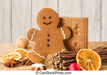 Gingerbread man with Christmas decorations