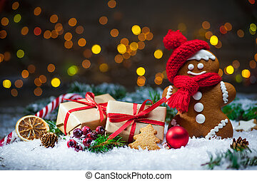 Gingerbread man with Christmas presents