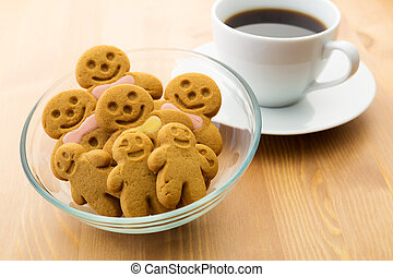 Gingerbread man with coffee