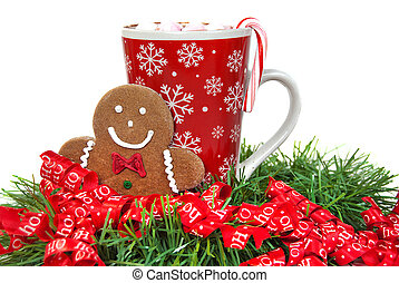 gingerbread man with hot chocolate