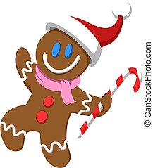 Happy Christmas gingerbread man wearing santa hat and holding a candy cane